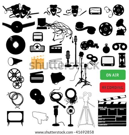 media silhouette set - stock vector