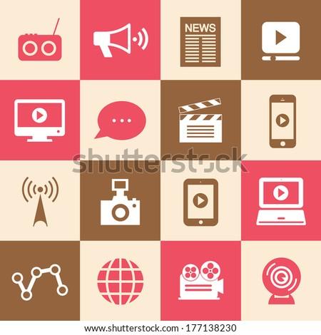 media symbol set for use  - stock vector