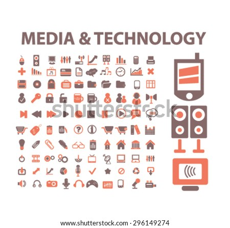 media, technology, devices icons, signs, illustrations set, vector - stock vector