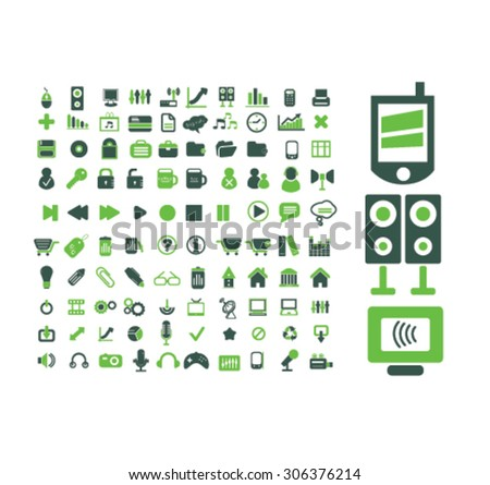 media, technology icons - stock vector