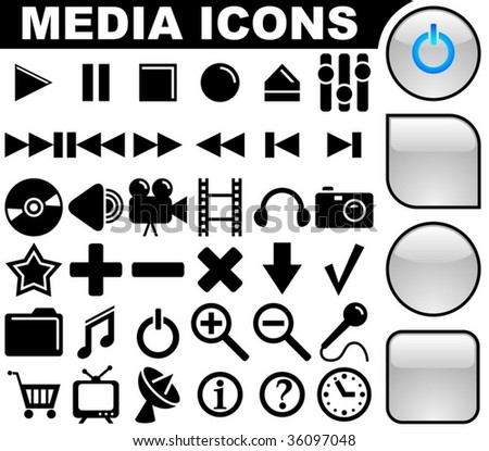 Media vector icons collection with 3 buttons variants isolated on white background.