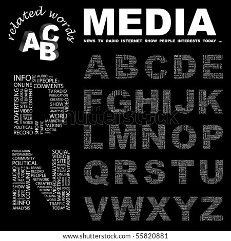 MEDIA. Vector letter collection. Illustration with different association terms.