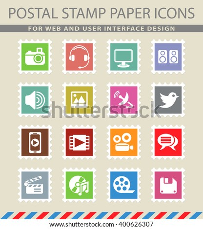media web icons in the form of postage stamps for user interface design