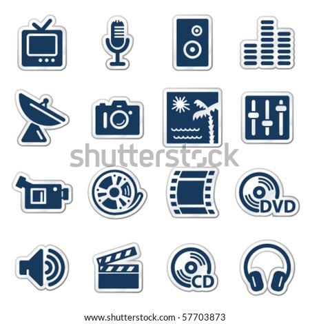 Media web icons, navy sticker series - stock vector