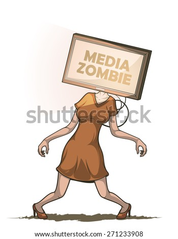 Media zombie women with flat screen tv for a head connected to the body. Isolated