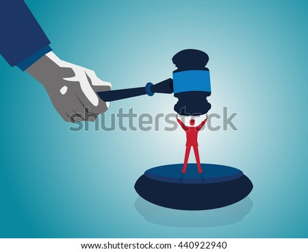 Mediation resolution and mediation legal disputes in business as a concept with a businessman or lawyer  judge mallet or gavel as competitors in arbitration. Vector flat - stock vector