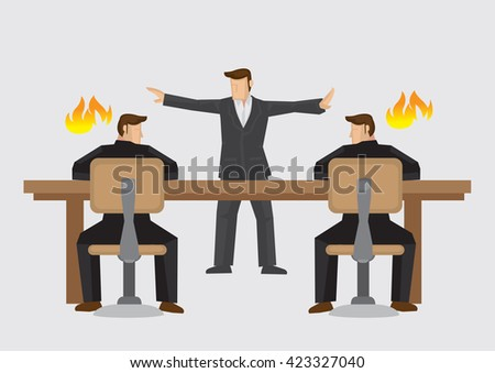 Mediator trying to resolve businessmen deadlocked in acrimonious debate. Vector illustration on business mediator or dispute resolution concept isolated on plain background.  - stock vector