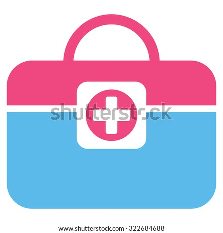 Medic Case vector icon. Style is bicolor flat symbol, pink and blue colors, rounded angles, white background.