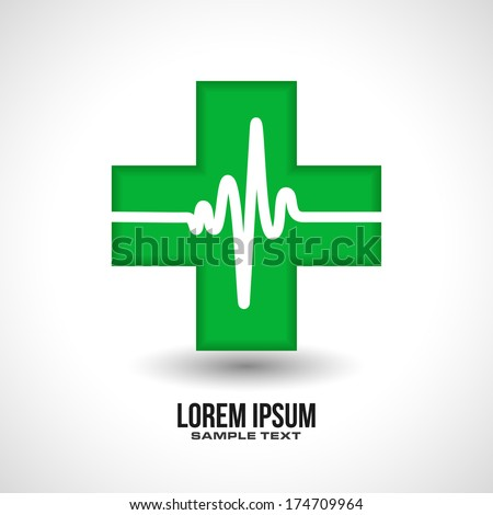 Medic cross icon with cardiogram in vector format - stock vector