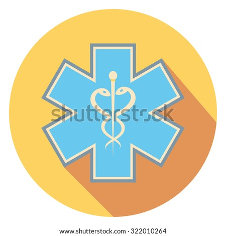 medic sign flat icon in circle - stock vector