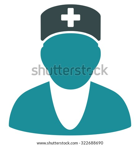 Medic vector icon. Style is bicolor flat symbol, soft blue colors, rounded angles, white background.