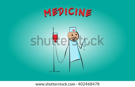 Medic with syringe and dropper. Cartoon. Caricature. Primitive drawing. Flat. - stock vector