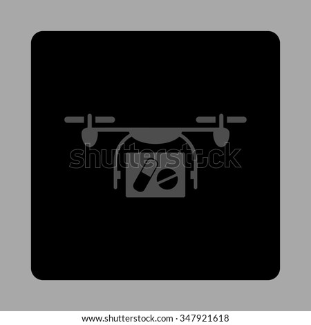Medical Air Drone vector icon. Style is flat rounded square button, gray and black colors, silver background.