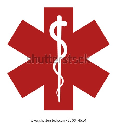 Medical alert emergency flat icon - stock vector