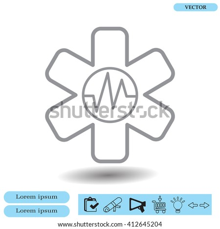 medical (ambulance) line icon - stock vector