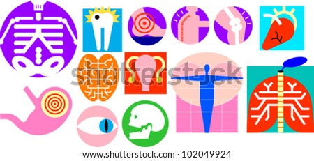Medical and body part icons - stock vector