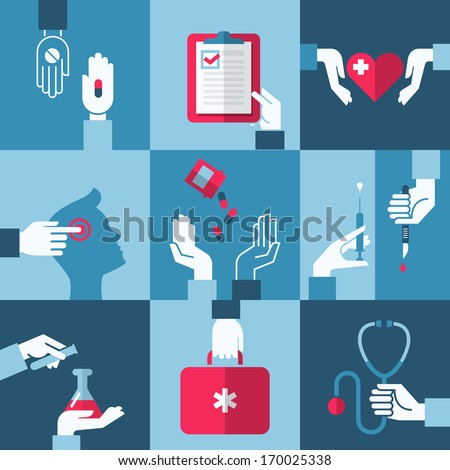 Medical and health care design elements - stock vector