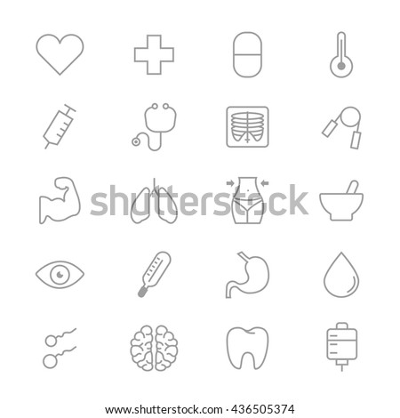 Medical and Health Care Fitness Set Of Healthy Icons Line - stock vector