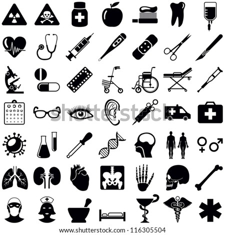 Medical and health care icons collection - vector illustration - stock vector