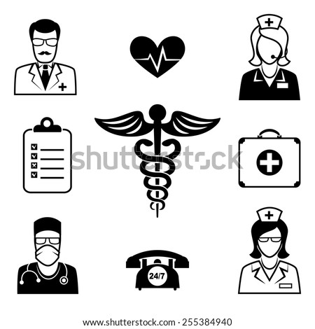 Medical and Health care icons. Rod of Asclepius and symbol, aid and doctor. Vector illustration - stock vector