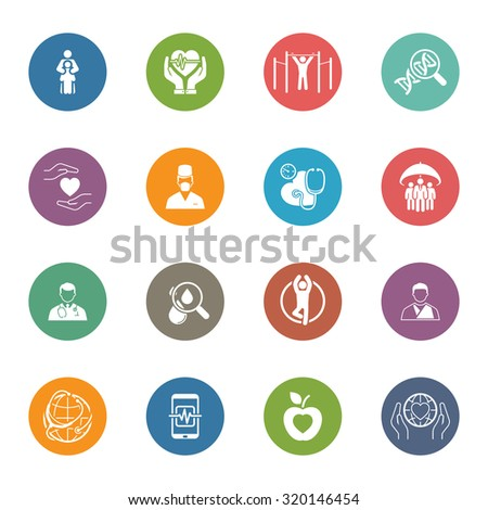 Medical and Health Care Icons Set. Flat Design. Isolated. - stock vector
