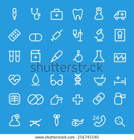 Medical and health care icons, simple and thin line design - stock vector