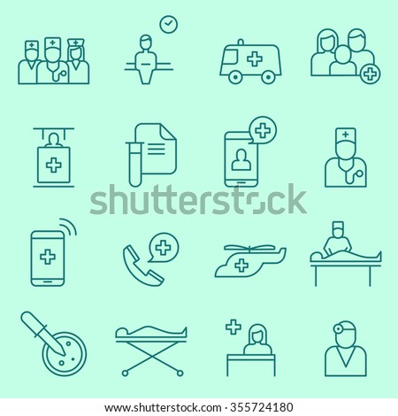 Medical and health care icons, thin line flat design - stock vector