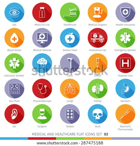 Medical and Health Care Long Shadow Flat Icons Set 02 - stock vector