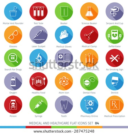Medical and Health Care Long Shadow Flat Icons Set 04 - stock vector