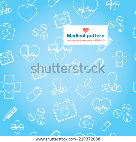 Medical and health care stylish seamless pattern background. Modern vector illustration and design element set. Pills and medication - stock vector