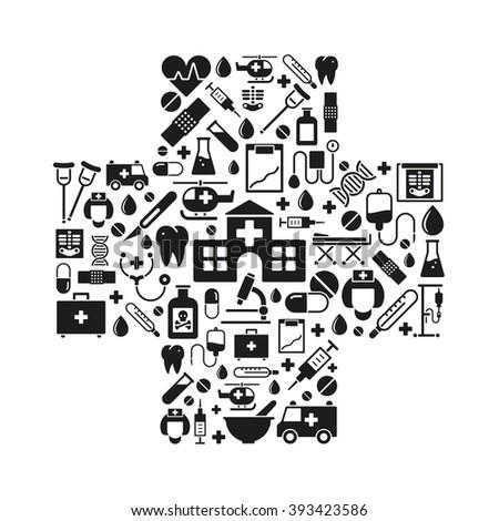 Medical Health Care Symbols Arranged Cross Stock Vector 393423586
