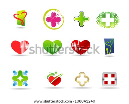 Medical and health icon set - stock vector