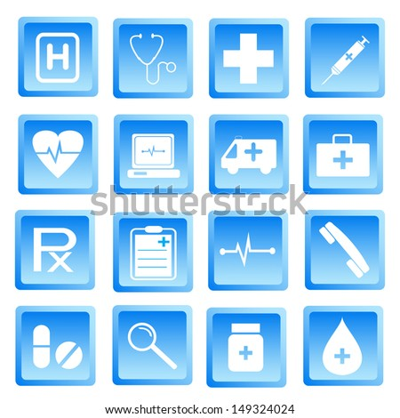Medical and health icon set.Used as a button for web . Vector illustration