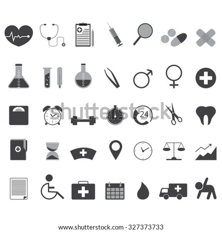 Medical And Health Icons Set Created For Mobile, Web And Applications.