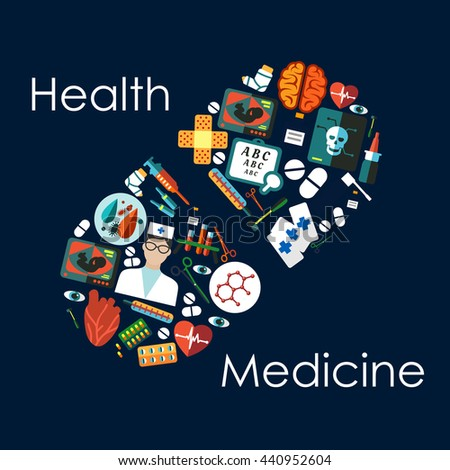 Medical and healthcare icons, arranged into silhouette of a pill, including doctor and medicine bottles, drugs and syringes, hearts and brain, thermometers and instruments, x ray and ultrasound scans