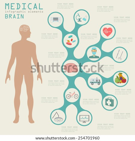 Medical and healthcare infographic, Brain  infographics. Vector illustration - stock vector