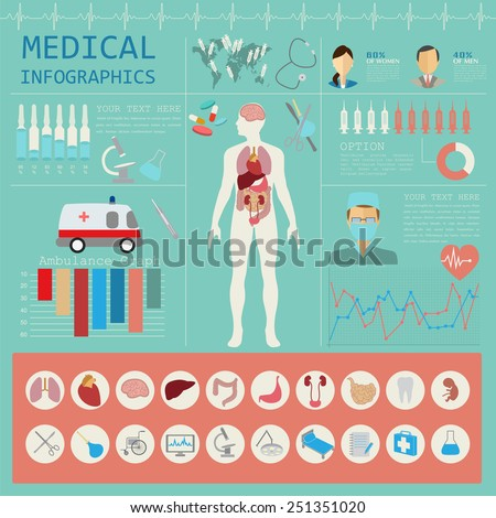 Medical and healthcare infographic, elements for creating infographics. Vector illustration - stock vector