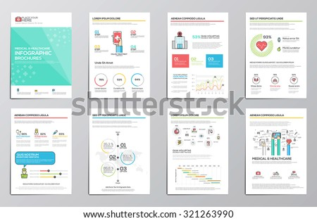 Medical and Healthcare infographics elements for corporate brochures. Collection of modern infographic elements. Flat design. Vector - stock vector