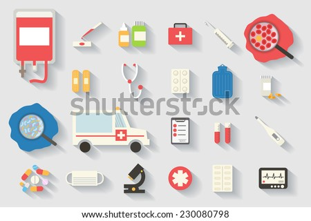 Medical and healthcare vector icons set. Ambulance, first aid, blood transfusion, pharmacy. Flat design long shadows vector. - stock vector