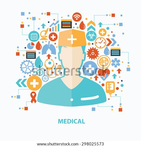 Medical and healthy care concept design on white background,clean vector
