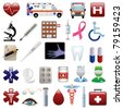 Medical and hospital icons set - stock photo