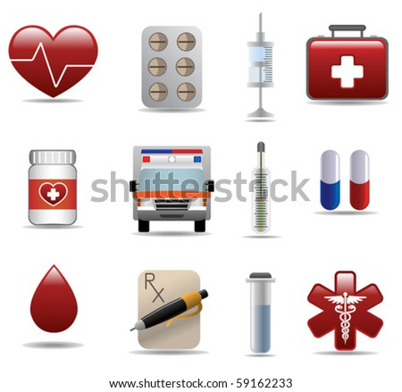 Medical and hospital icons set - stock vector