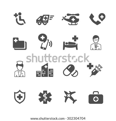 Medical and Hospital Icons set,vector. - stock vector