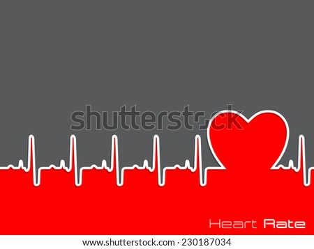Medical background design with ekg diagram and heart shape - stock vector