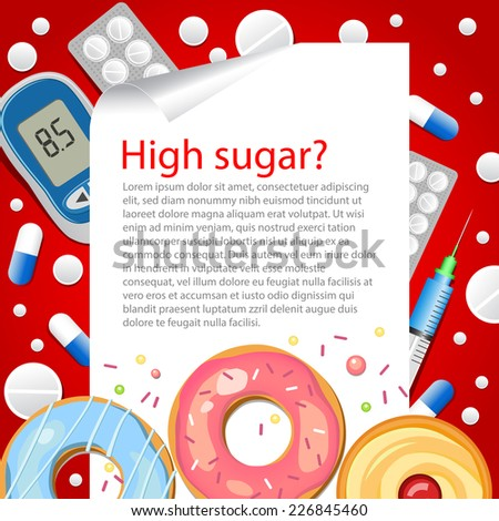 Medical background. Diet. Diabetic. High sugar. Vector backdrop.   - stock vector