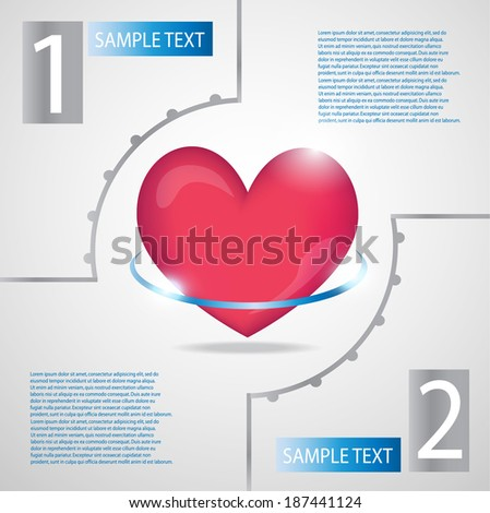 Medical background.Red heart. - stock vector
