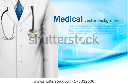 Medical background with a doctor's lab white coat and stethoscope. Vector illustration  - stock vector