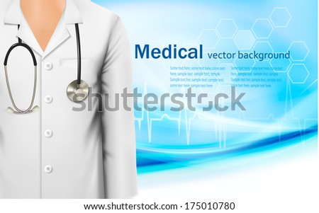 Medical background with a female doctor's lab white coat and stethoscope. Vector illustration  - stock vector