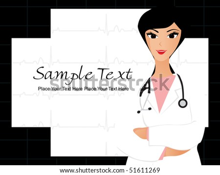 medical background with beautiful doctor - stock vector