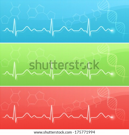 Medical background with cardiogram line and DNA in three colors - stock vector
